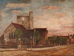A Church, possibly St Michael's, Basingstoke. A Church, possibly St Michael's, Basingstoke by unknown artist Hampshire County Council Arts and Museums Service      Date painted: 1915     Oil on canvas, 36 x 48 cm     Collection: Hampshire County Council Arts and Museums Service. BBC Your Paintings.