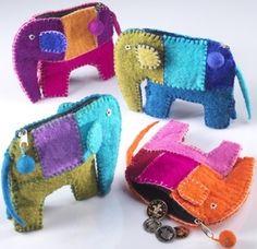Elephant felt purse