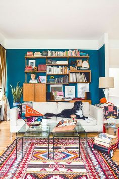 living room in teal, pink and orange
