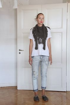 https://www.cityblis.com/9822/item/13801 %0AChunky Fringe scarf - Charcoal grey - $129 by Vietto %0AHand knitted huge fringe scarf with long ties made of cotton tricot yarn. Looks lovely in every day use and can be worn in many different ways.%0D%0A%0D%0ATricot yarn is left over material from textile industry, it's mostly cut from the edge of the fabric.%0D%0A%0D%0A100% Cotton.