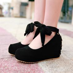 Pastel wedge princess bow heels