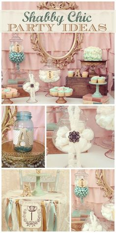 A lovely vintage shabby chic party with a dessert table, candy jars and fabric garland!