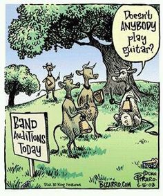 This one's for you Mikey! Nope, just more cow bell. Bizarro Comic, Music Jokes, Music Humor, Funny Music, Funny Cartoons, Funny Jokes, Hilarious, Cartoon Humor, Jokes Pics