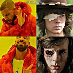 qotd: Carl with the gause or without the gause? Chandler Riggs, The Walking Dead, Stranger Things, Humor, Instagram Posts, Character, Strange Things, Cheer, Walking Dead