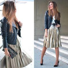 Silver Plated Midi Skirt