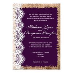 Rustic Burlap Lace Dark Purple Wedding Invitations for a vintage country style wedding.  Choose from rounded or square corners.  Smooth Basic Paper or Premium Textured Paper.  40% OFF when you order 100+ Invites.
