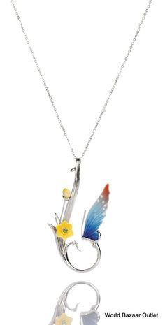 FJ00005 Franz Porcelain  Butterfly  pendant Jewelry Petite and Beautiful