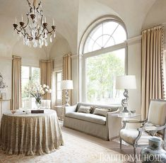 Pale gray and champagne float throughout this showhouse space designed by Gail Plechaty. See more: http://www.traditionalhome.com/design/showhouses/showhouse-rooms-quiet-palettes