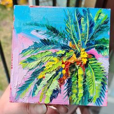 Original Oil Painting on canvas thick paint tropical palm tree flowers roses oasis rainforest holiday vibes bright blue sky green Palm Tree Flowers, Palm Trees, Oil Painting On Canvas, Oasis, Tropical, Bright, Paintings, Sky, Rose