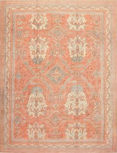 Large Antique Turkish Oushak Rug 47426 Thumbnail - By Nazmiyal