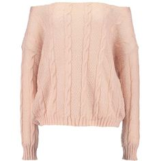 Missguided OFF SHOULDER CABLE DETAIL JUMPER Stickad tröja ❤ liked on Polyvore featuring tops, sweaters, cable jumper, pink jumper, pink cable knit sweater, off shoulder jumper and chunky cable knit sweater