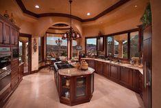 cocina de lujo rustica marron