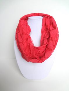 Lace Scarf. Coral Infinity Scarf. Boho Chic. by FashionelleStudio, $19.99