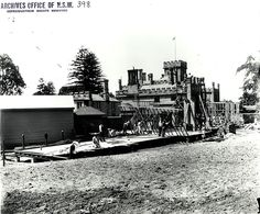 Caption: New South Wales Government House - construction work, Sydney (NSW) Digital ID: 4481_a026_000361.jpg Date: n.d. Format: Black and white photograph