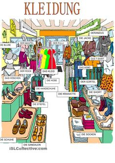 Clothing – picture dictionary - My CMS Study German, German English, Learn German, Learn English, Learn French, German Grammar, German Words, German Resources, Deutsch Language
