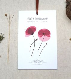 2016 Wall Calendar Calendar Flowers and Foliage by SabrisStudio