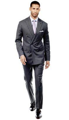 Charcoal Bold Pinstripe Suit  #menswear #mensfashion #graysuit #mensstyle #glennplaid #wedding #weddingsuit #groom #groomssuit #groomsmen #groomsman #weddingstyle #suitandtie #bluesuit #plaidsuit
