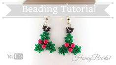 Holly Earrings Beading Tutortial by (Christmas jewerly) Beaded Christmas Ornaments, Christmas Earrings, Christmas Jewelry, Christmas Deco, Beaded Earrings Patterns, Beading Patterns Free, Bead Earrings, Beaded Jewelry, Beading Projects