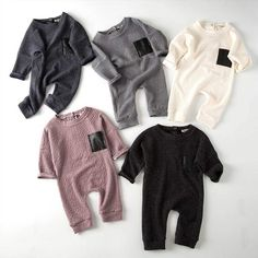 Leather Pocket Long Sleeve Pullover Romper - Baby Boy Names Baby Girl Names Baby Outfits, Outfits Niños, Baby Boy Outfits Newborn, Baby Boy Fashion, Fashion Kids, Fashion 2018, Fall Fashion, Niñas Carters Baby, Moda Kids