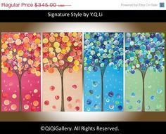 Abstract painting Landscape painting Four Season por QiQiGallery, $293,25