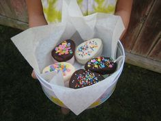Homemade chocolate marshmallow eggs -- can be gluten-free and dairy free. Make sure sprinkles are gf if used. I'll use Enjoy Life dairy-free choc chips