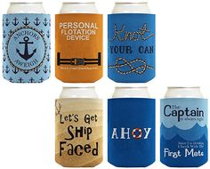 Funny Beer Coolie Gift Bundle Nautical Themed Boating Sailing Sayings Gag Gift 6 Pack Can Coolie Drink Coolers Coolies Multi