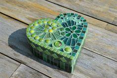 Green glass mosaic heart shaped box by mimosaico on Etsy, $45.00