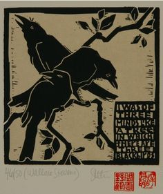 linocut by Diana Steson Linocut Prints, Art Prints, Block Prints, Blackbird Singing, Linoleum Block Printing, Crow Bird, Raven Art, Jackdaw, Crows Ravens