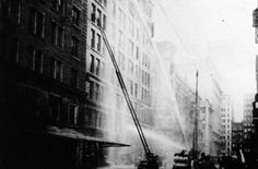 Firemen fight the blaze at the factory with hoses and ladders. Remembering the Triangle Factory Fire, 100 years later.  Story of the Fire. Victims & Witnesses.   Primary Sources.  Supplemental Resources.  Legacy. Timeline |  9th Floor Model | Tips for Students | Bibliography.