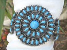 Southwestern style cluster cuff bracelet faux turquoise vintage 1970 fun jewelry #NA #Cuff