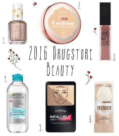 Shop: 2016 Drugstore Beauty Wishlist, best new drugstore beauty products, 2016 release, new drugstore makeup, top 6 affordable makeup products, micellar water, cushion foundation, matte liquid lipstick, easy contour kit, blender sponge, maybelline, l'oreal, garnier, essie nail polish