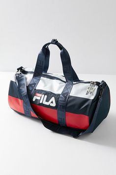 17ff6a99a1 Urban Outfitters Fila Major Stripe Duffle Bag - Navy One Size
