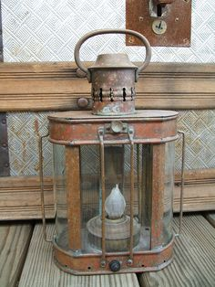 Antique Copper & Brass Ship Lantern Rounded by TheHilltopShop, $32.00