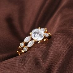 Fashion 18K Gold Plated Copper Ring Inlay Double Row White Shiny Zircon Two Sizes