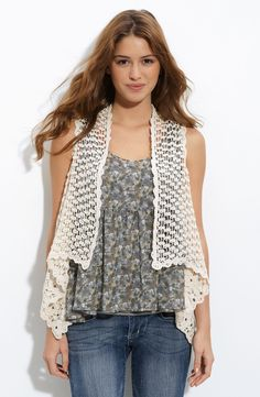 Free shipping and returns on h.i.p. Chunky Crochet Vest (Juniors) at Nordstrom.com. A lattice-like crochet pattern lends eye-catching texture to an airy, open-front vest fashioned with a deeply angled asymmetric hem.