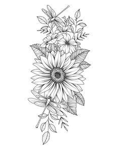 Unique 30 small sunflower tattoos design ideas for women - unique . - Unique 30 Small Sunflower Tattoos Design Ideas for Women – Unique 30 Small Sunflower Tattoos Desi - Flower Thigh Tattoos, Sunflower Tattoos, Sunflower Tattoo Design, Sunflower Drawing, Flower Tattoos On Shoulder, Daisy Flower Tattoos, Sunflower Tattoo Sleeve, Watercolor Sunflower, Shoulder Tattoo