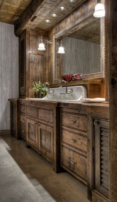 Rustic Bathroom Vanity Idea with Dark Wood Looking for a bathroom vanity idea for your farmhouse? Luckily, we have curated unique and simple farmhouse bathroom vanity ideas to help you take your bathroom from drab to that rustic farmhouse dream. Cabin Bathrooms, Rustic Bathrooms, Dream Bathrooms, Pink Bathrooms, Dream Rooms, Beautiful Bathrooms, Rustic Bathroom Designs, Rustic Bathroom Vanities, Bathroom Ideas