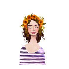 Print of Purple Flower crown girl watercolor by KristineBrookshire