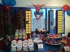 spiderman party...love the candy legos as a party favor (the buildings)