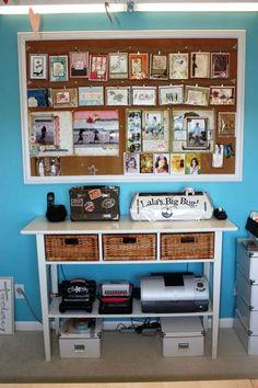 I need a small console table to sit on the wall facing the end of my bed for my Silhouette Printer and Sewing Machine. Something like this (but smaller) with a bottom shelf would be PERFECT! Scrapbook Room Organization, Scrapbook Storage, Craft Organization, Craft Room Storage, Table Storage, Craft Rooms, Small Console Tables, Narrow Table, Diy Cutting Board