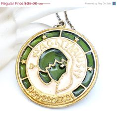 "ON SALE Vintage Sagittarius Zodiac 24"" Necklace Enamel Medallion"