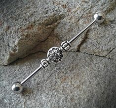 Silver Tribal Industrial Barbell Specification: Surgical Stainless Steel 1 in length Ships in 1 business day! Belly Rings, Belly Button Rings, Scaffolding Piercing, Double Ear Piercings, Cartilage Jewelry, Industrial Piercing, Body Jewelry, Stainless Steel, Industrial Bars