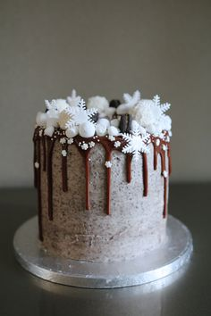 Snowflake Christmas Drip Cake // This may be beautiful in blue hues.