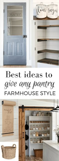 Home Remodeling Ideas Best Ideas to Give Any Pantry Farmhouse Style - These great farmhouse pantry ideas can be used to give farmhouse style to any pantry, even if you live in a cookie cutter new house. Farmhouse Pantry, Kitchen Remodel, Kitchen Decor, Home Remodeling, Home Decor, Home Kitchens, Farmhouse Kitchen, Remodel Bedroom, Rustic House