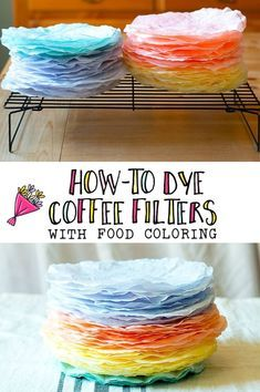 DIY Home Decor Inspiration : Illustration Description Vibrantly dyed coffee filters dyed with food coloring -Read More –Learn How-To Dye Coffee Filters with Food Coloring - this is so easy and the colors are gorgeous! Use them to make wreaths, beau Coffee Filter Wreath, Coffee Filter Crafts, Coffee Filter Flowers, Coffee Crafts, Coffee Filter Coral, Coffee Filter Paper, Food Coloring Crafts, Diy For Kids, Crafts For Kids