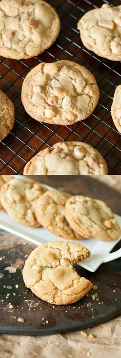 These are hands-down best Peanut Butter Macadamia Nut White Chocolate Cookies of my life! They're crispy on the edges, soft and chewy in the center, and loaded with melty peanut butter chips!