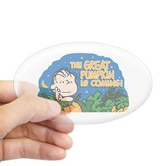 CafePress  The Peanuts Gang Great Pumpkin  Oval Bumper Sticker Euro Oval Car Decal >>> See this great product.