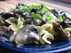 Mushroom Stroganoff: Made a similar version tonight with cashew cream, a splash of Madeira and baby peas.