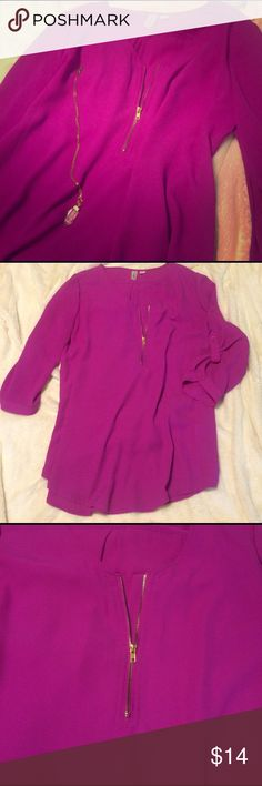 Fuchsia Zipper Tunic ✨Fuchsia pink, gold zipper v-neck, quarter sleeved with rollup button closures, beautiful summer piece in perfect condition ✨ Tops Tunics