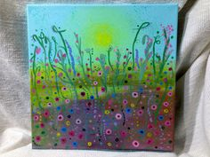 MAGICAL MYSTERY MEADOW abstract wildflowers 12 x 12 in. flower painting, acrylic on canvas, original by TheMarchOfTime on Etsy